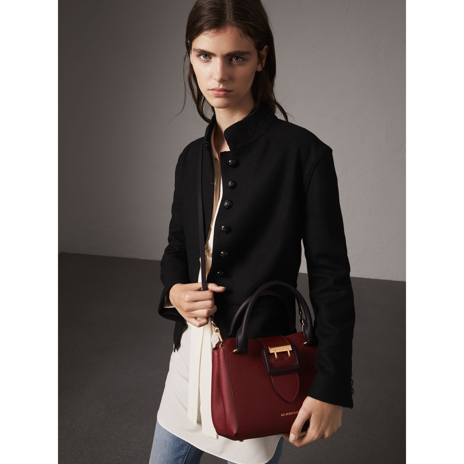 The Small Buckle Tote in Two-tone Leather in Burgundy - Women | Burberry - gallery image 3