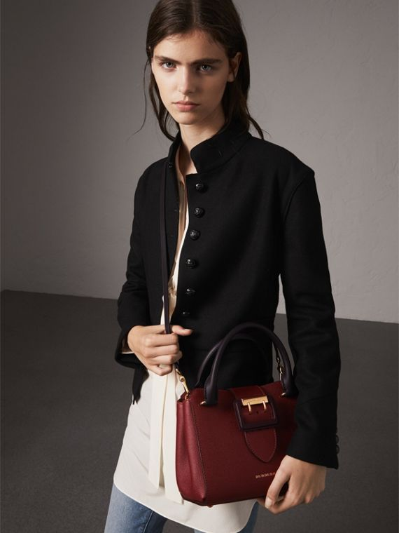The Small Buckle Tote in Two-tone Leather in Burgundy - Women | Burberry United States - cell image 3