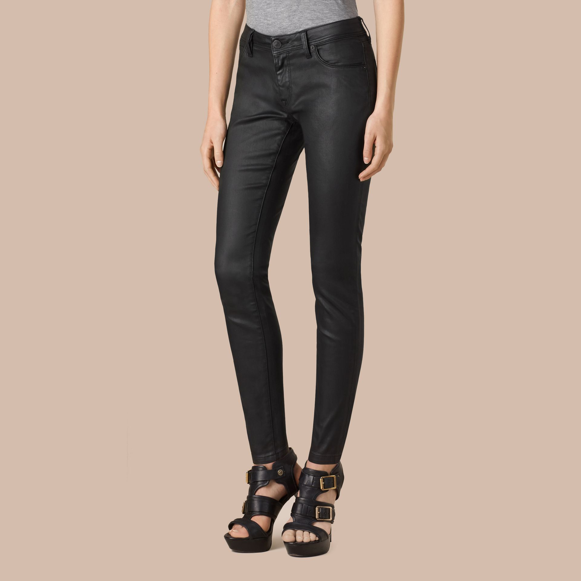 Black Skinny Fit Low-rise Wax Coated Jeans - gallery image 4