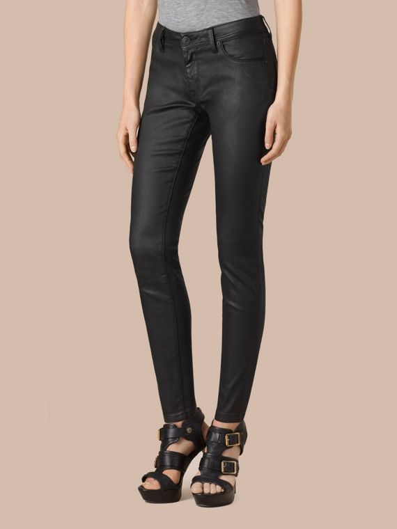 Black Skinny Fit Low-rise Wax Coated Jeans - cell image 3