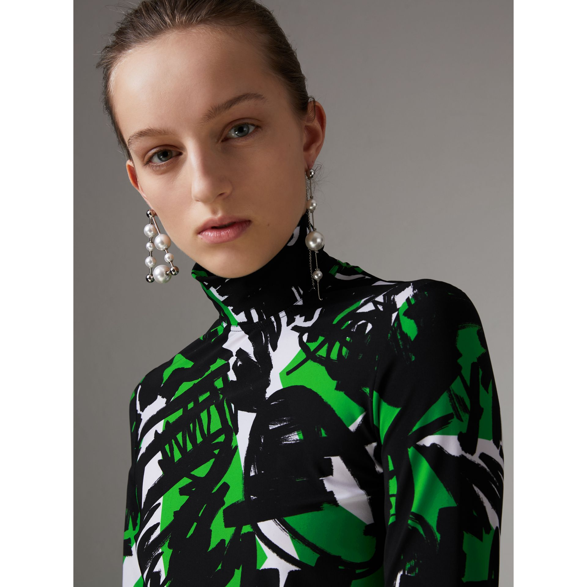Graffiti Print Stretch Jersey Top in Neon Green - Women | Burberry - gallery image 1