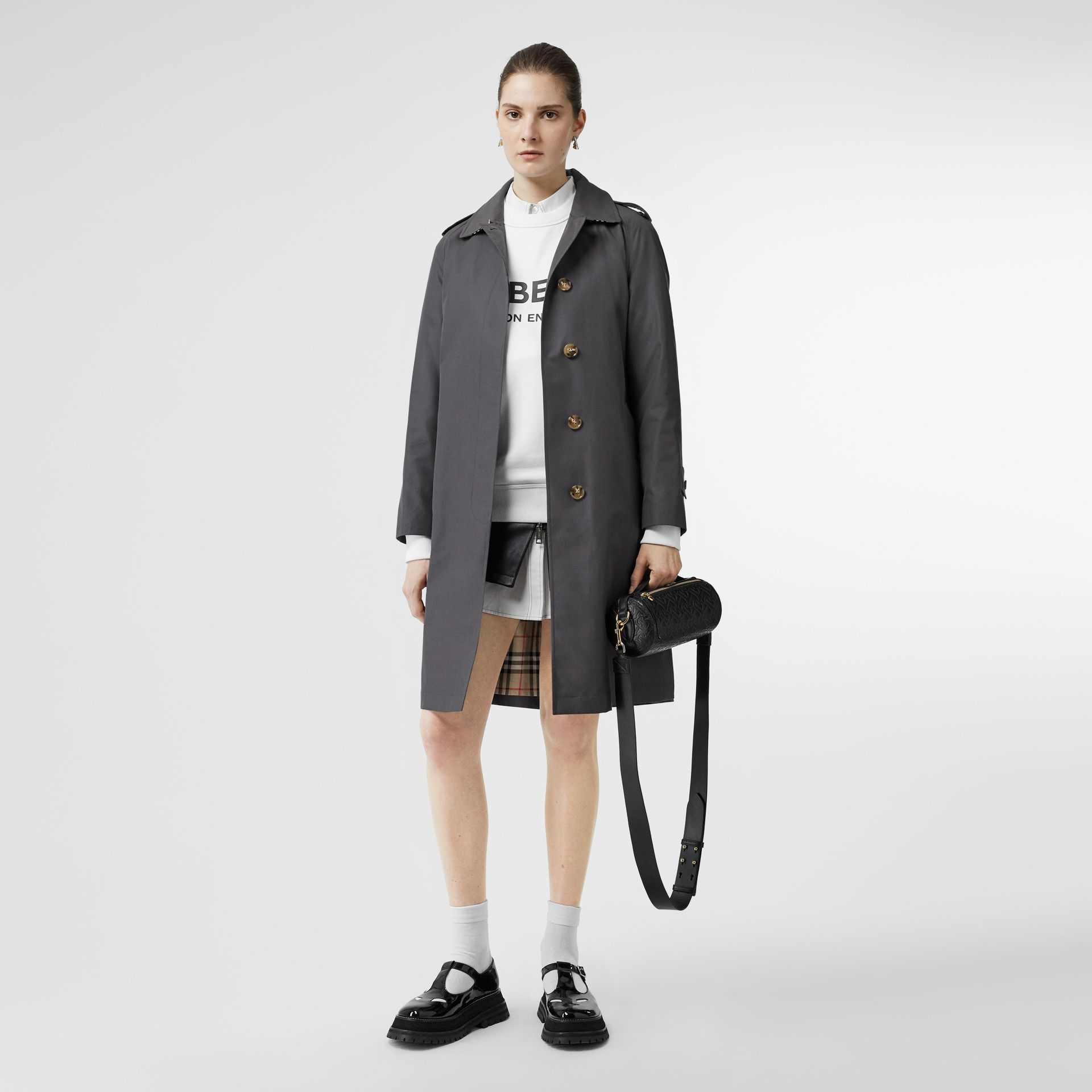 Cotton Gabardine Belted Car Coat in Mid Grey - Women | Burberry Singapore - gallery image 0