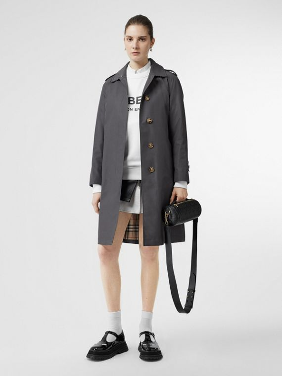 Cotton Gabardine Belted Car Coat in Mid Grey