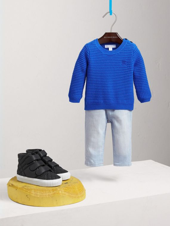 Waffle Knit Cotton Sweater in Cobalt Blue | Burberry - cell image 2