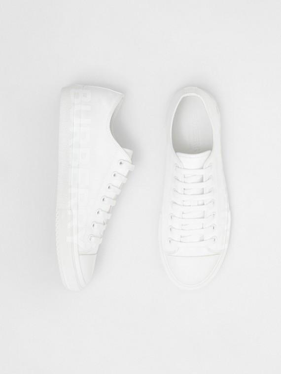 Men's Logo Print Cotton Gabardine Sneakers in Optic White