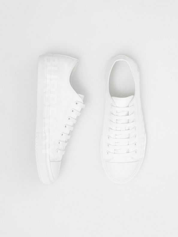 Logo Print Cotton Gabardine Sneakers in Optic White