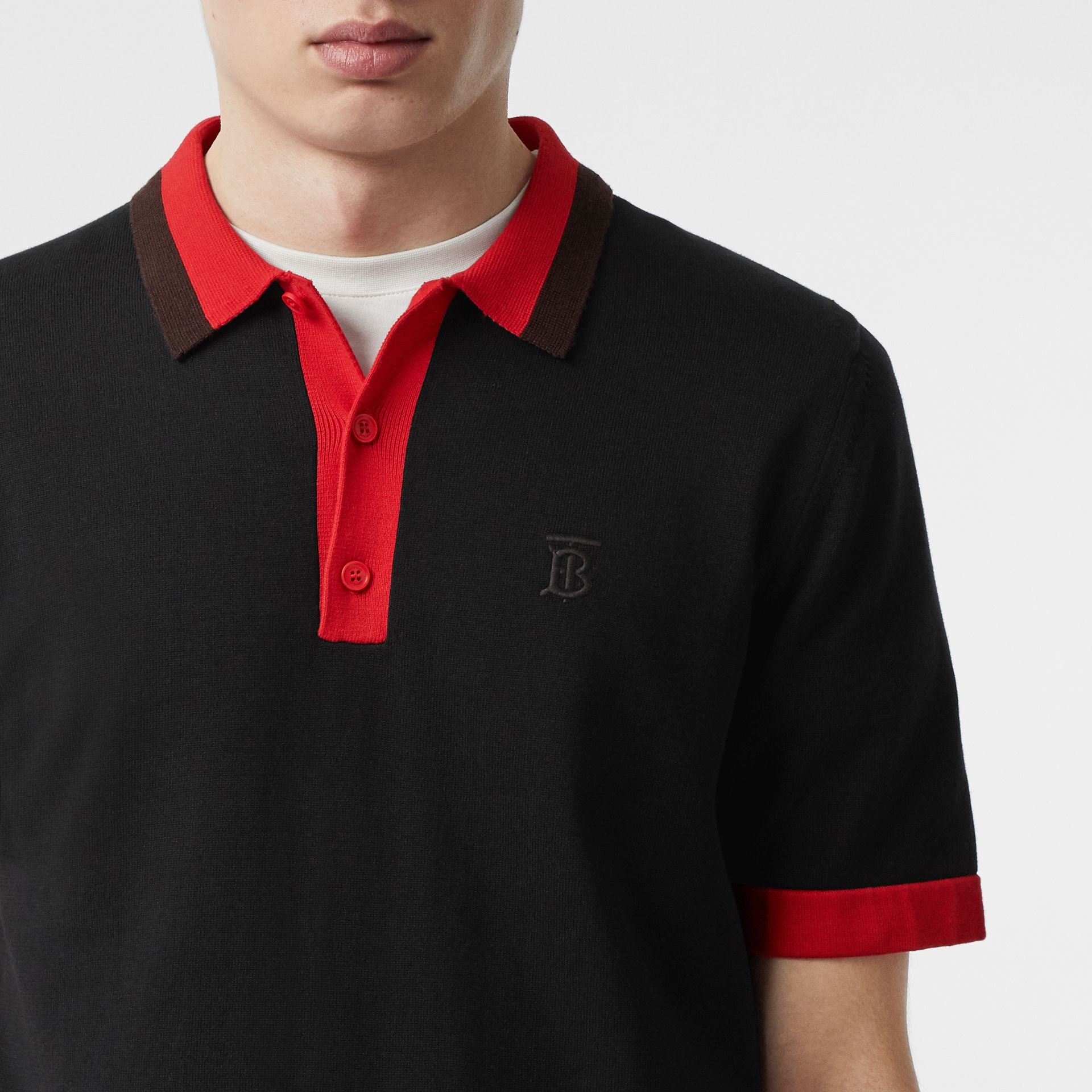 Monogram Motif Tipped Cotton Polo Shirt in Black - Men | Burberry - gallery image 1