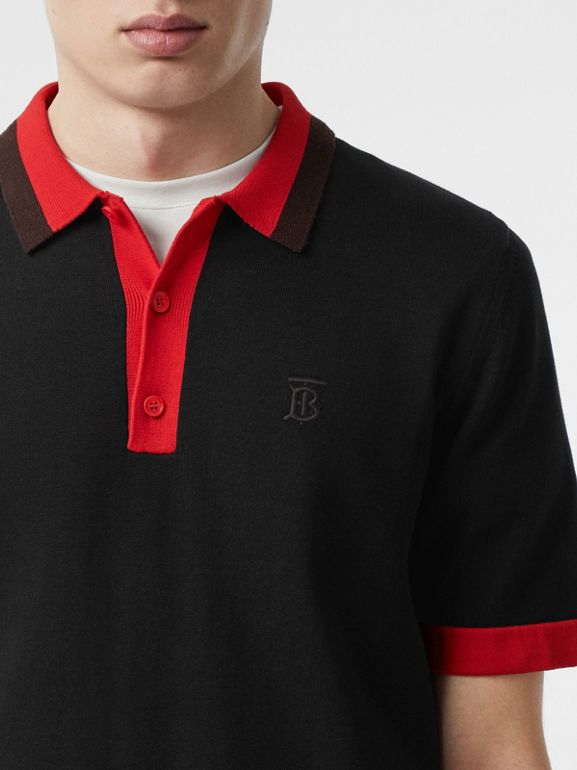 Monogram Motif Tipped Cotton Polo Shirt in Black - Men | Burberry - cell image 1
