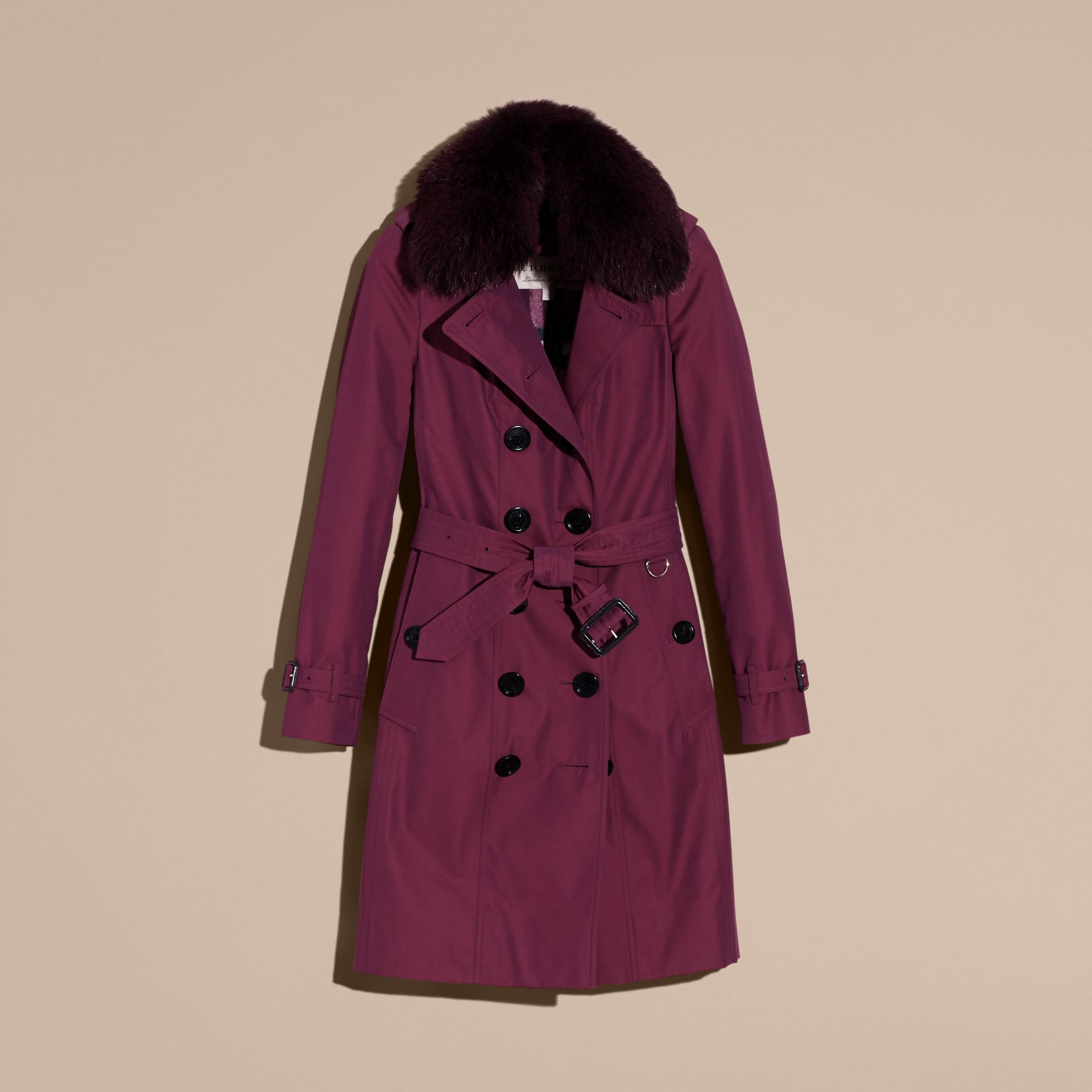 Crimson Cotton Gabardine Trench Coat with Detachable Fur Trim Crimson - gallery image 4
