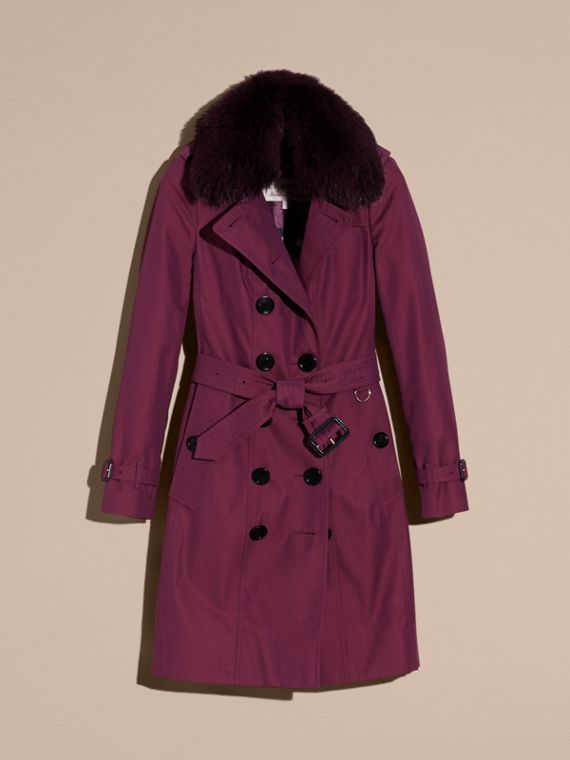 Crimson Cotton Gabardine Trench Coat with Detachable Fur Trim Crimson - cell image 3