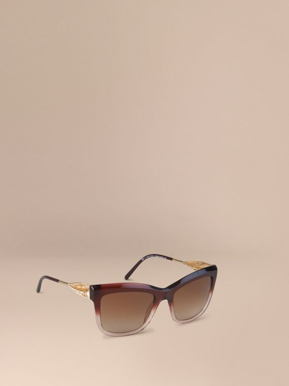 Gabardine Lace Collection Square Frame Sunglasses Dark Military Red