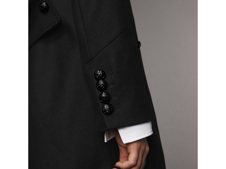 Collarless Wool Blend Coat in Black - Women | Burberry Canada - cell image 1