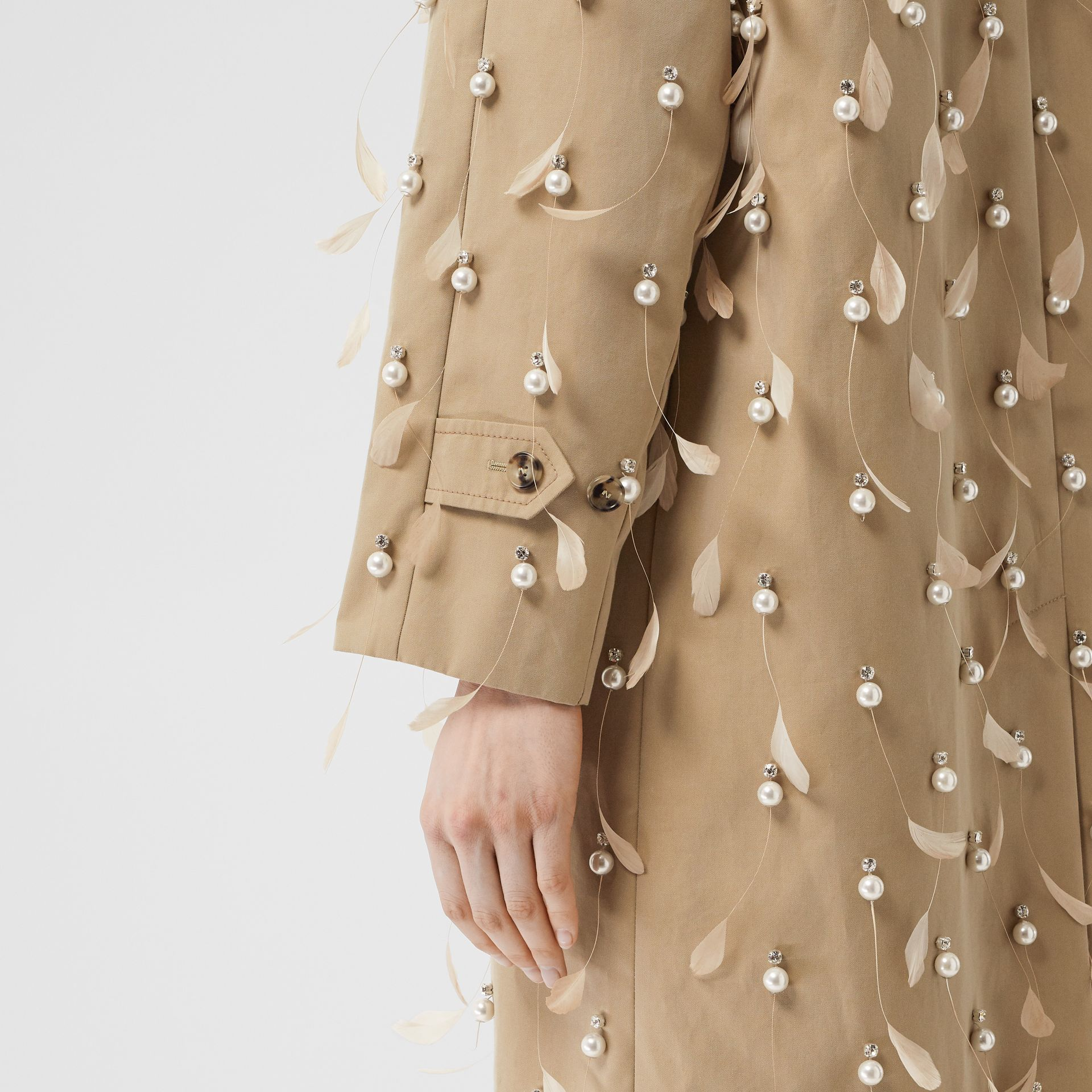 Embellished Cotton Gabardine Car Coat in Pale Honey - Women | Burberry Australia - gallery image 4