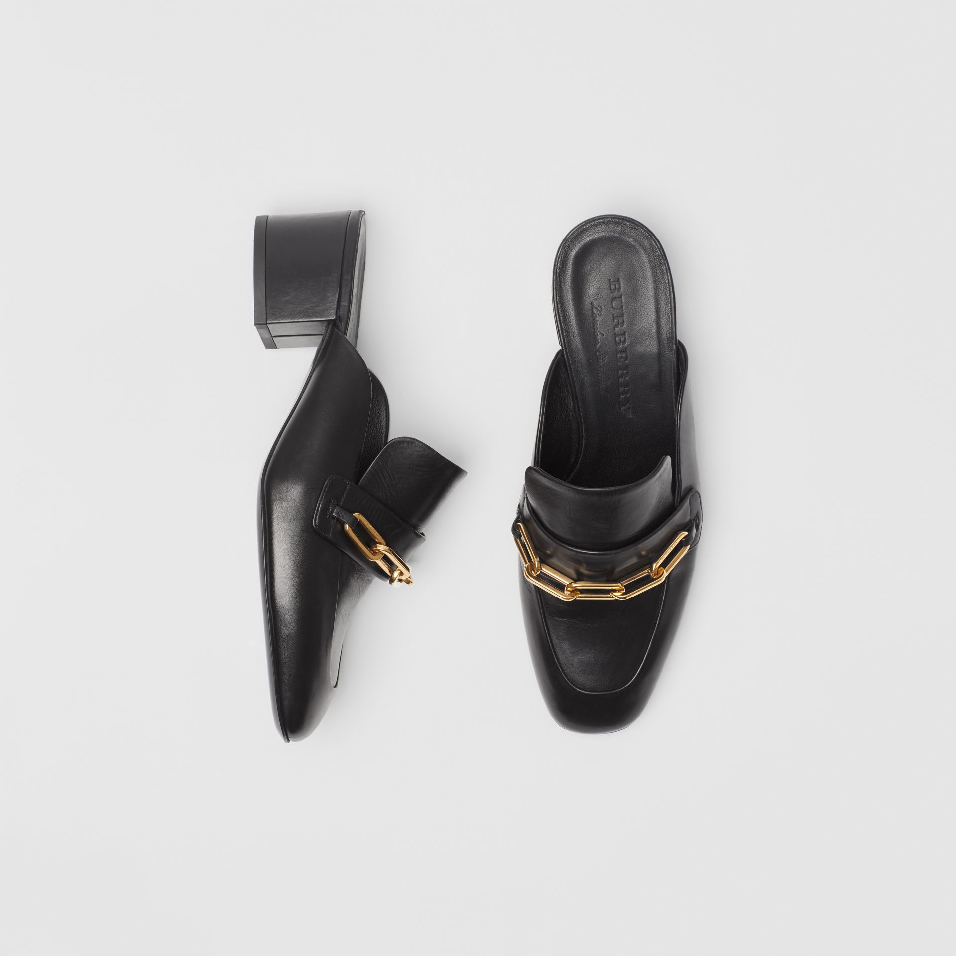 Link Detail Leather Block-heel Mules in Black - Women | Burberry - gallery image 0