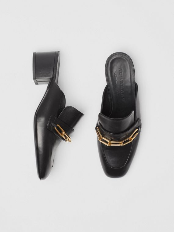 Link Detail Leather Block-heel Mules in Black