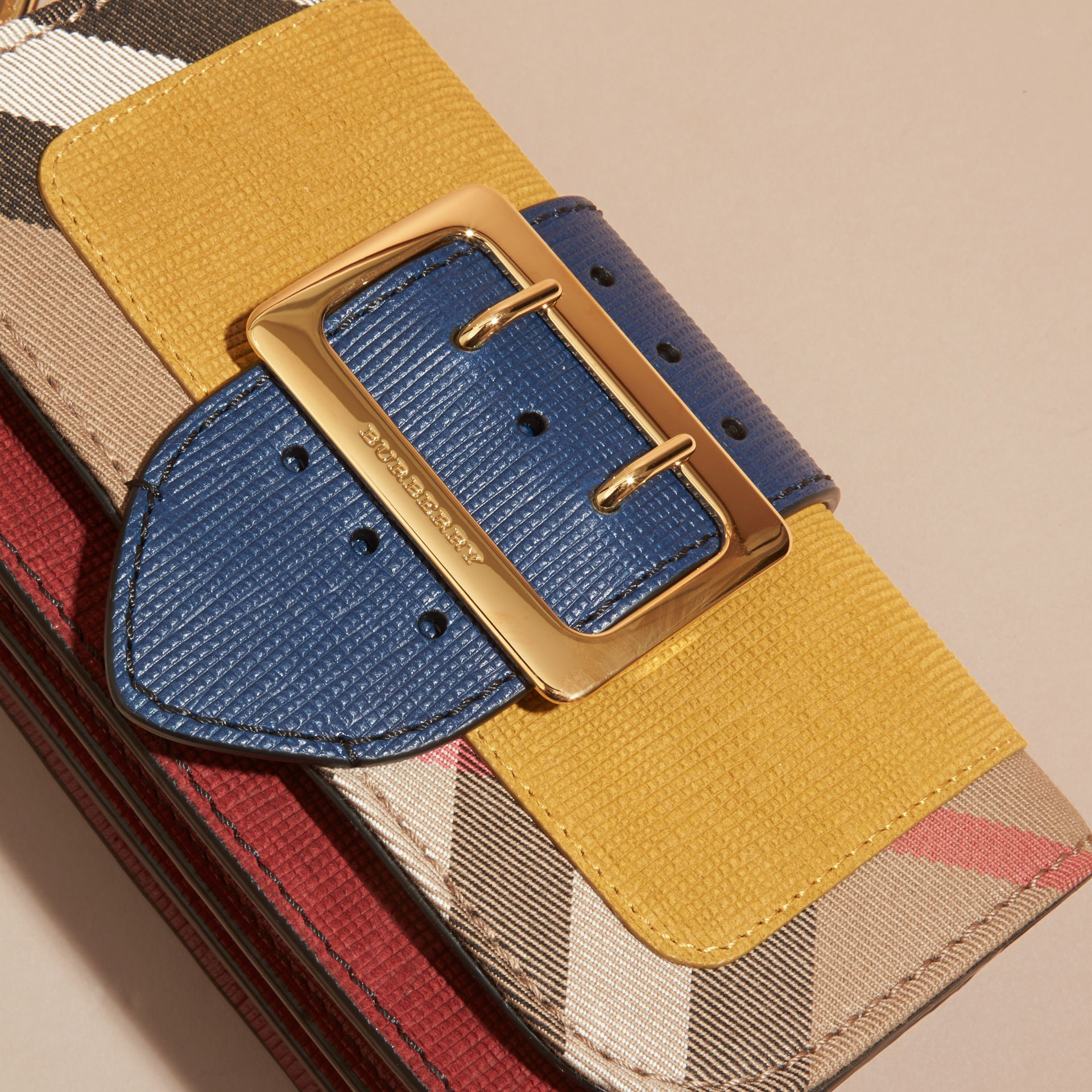 The Small Buckle Bag in Suede and House Check Larch Yellow - gallery image 7