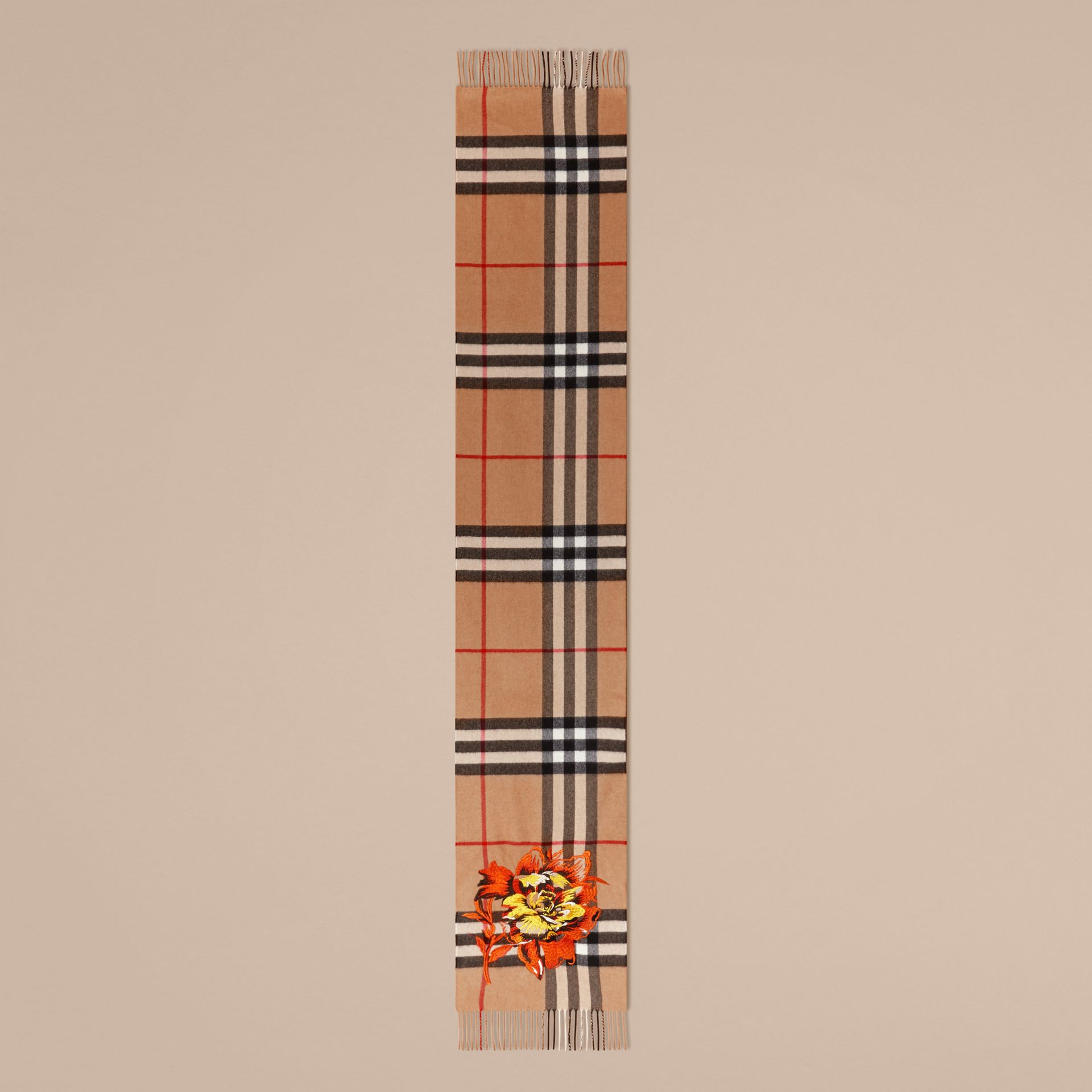 Camel/vibrant orange The Classic Cashmere Scarf with Embroidered Peony Rose - gallery image 5