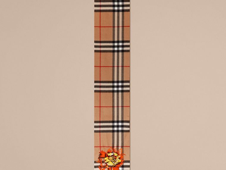 Camel/vibrant orange The Classic Cashmere Scarf with Embroidered Peony Rose - cell image 4