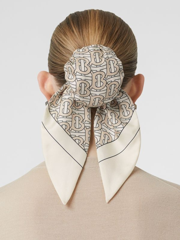 Monogram Print Silk Hair Scarf in Sesame - Women | Burberry United States - cell image 2