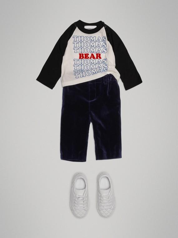 Blusa Thomas Bear de algodão com mangas raglã (Branco)