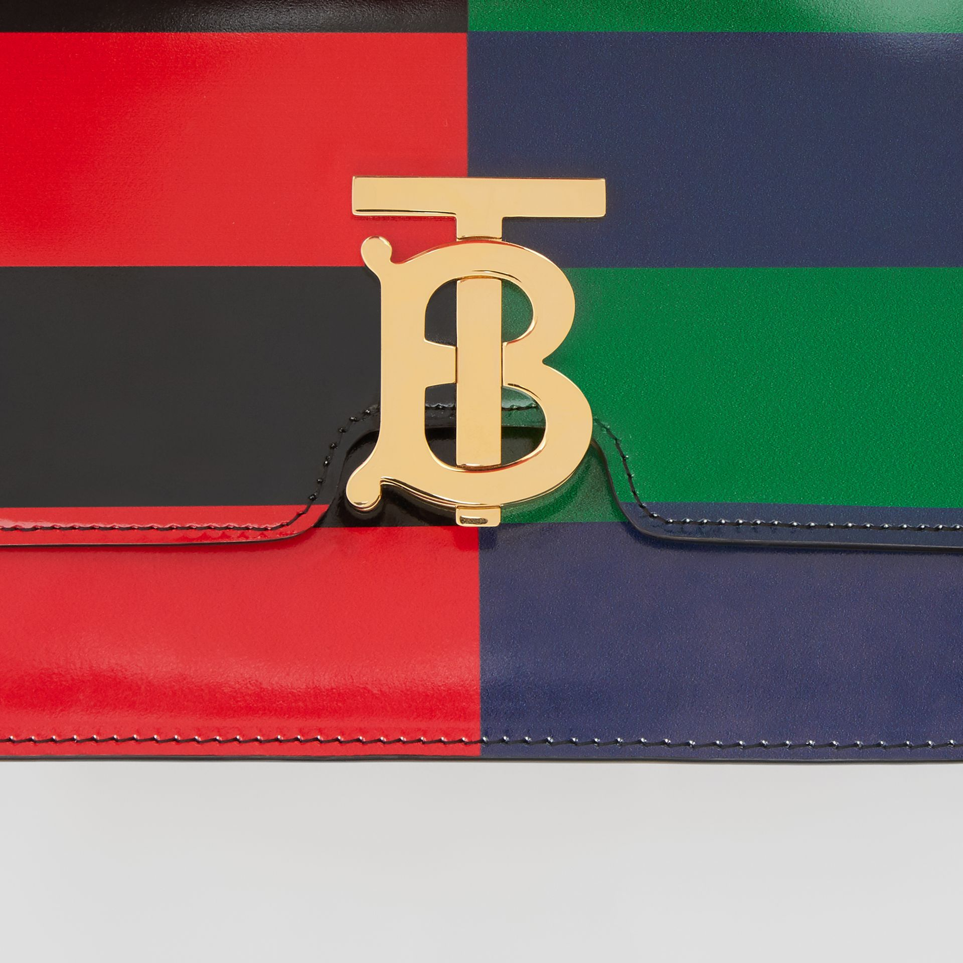 Small Striped Leather TB Bag in Black - Women | Burberry - gallery image 1