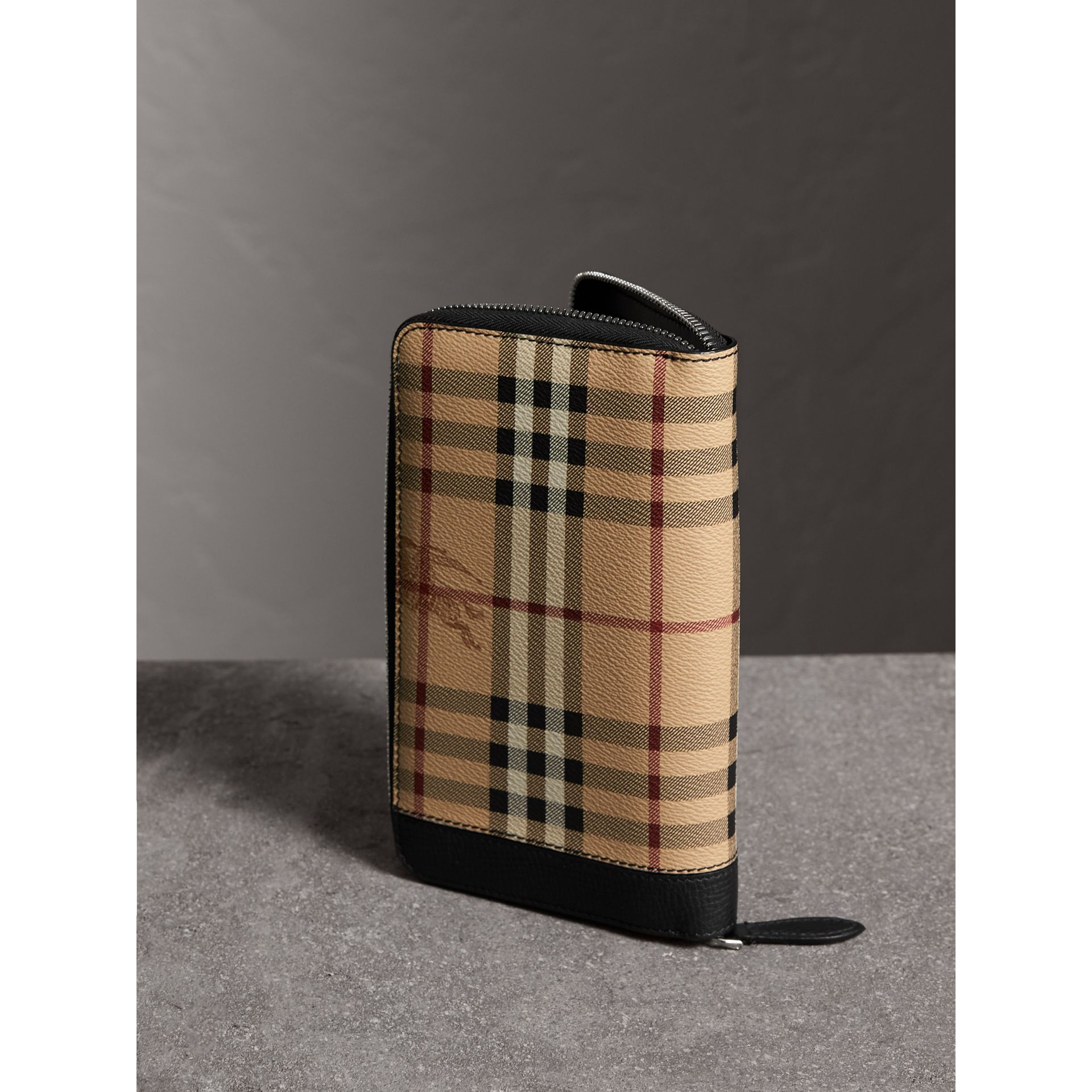 Haymarket Check and Leather Ziparound Wallet in Black - Men | Burberry Canada - gallery image 3