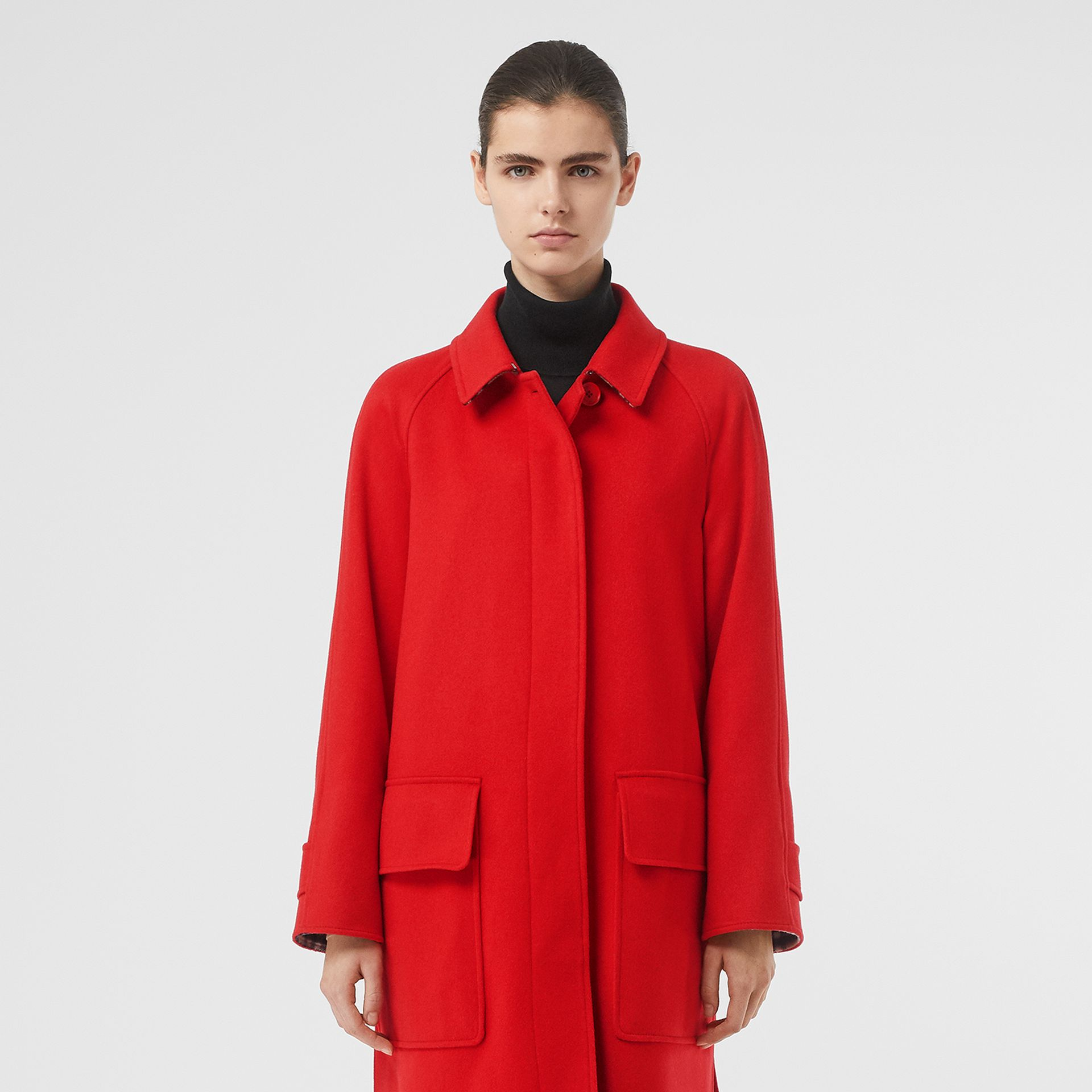 Cashmere Car Coat in Bright Red - Women | Burberry United Kingdom - gallery image 7