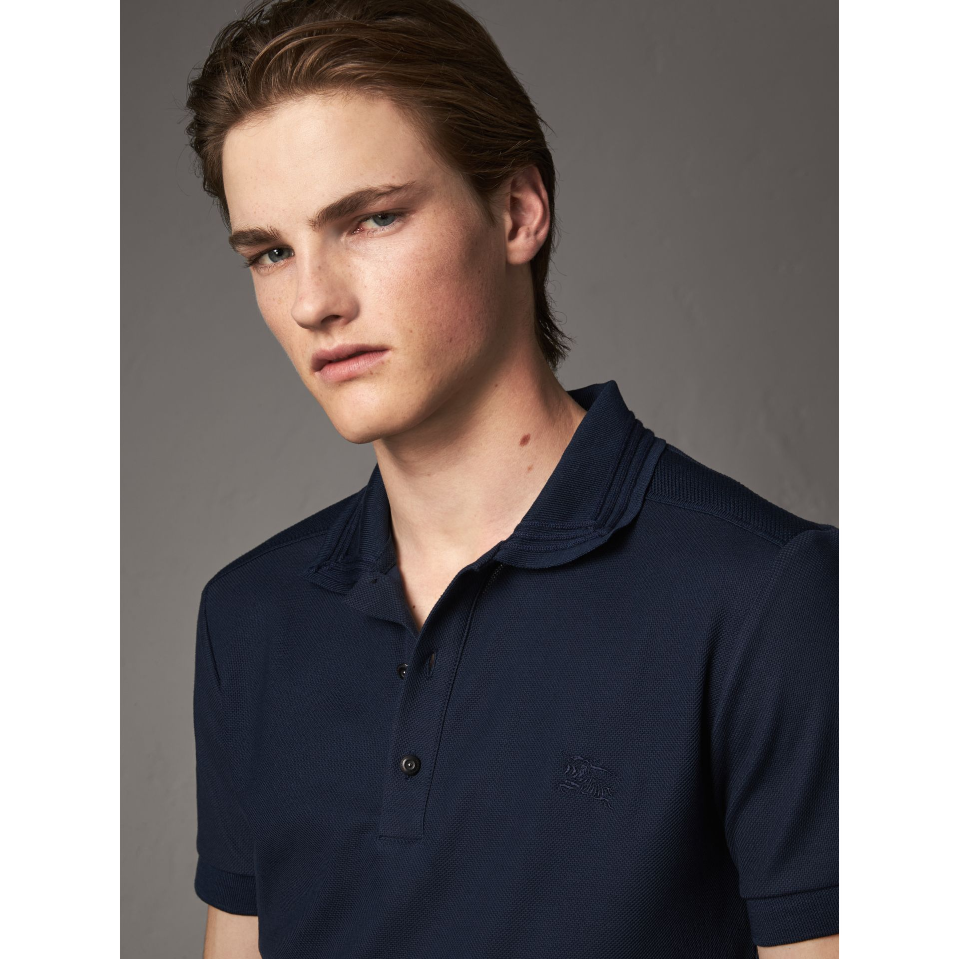 Embroidered Detail Cotton Piqué Polo Shirt in Navy - Men | Burberry - gallery image 2