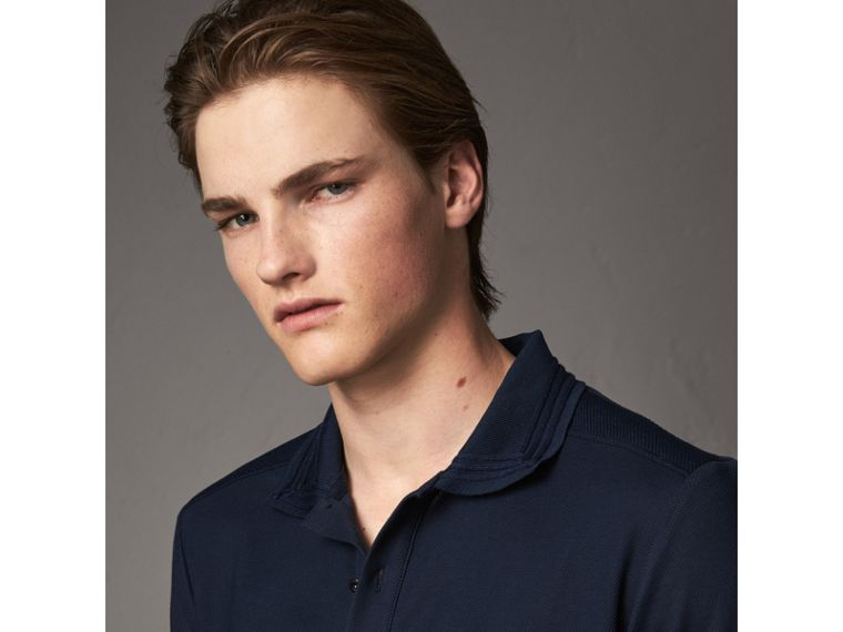 Embroidered Detail Cotton Piqué Polo Shirt in Navy - Men | Burberry - cell image 1