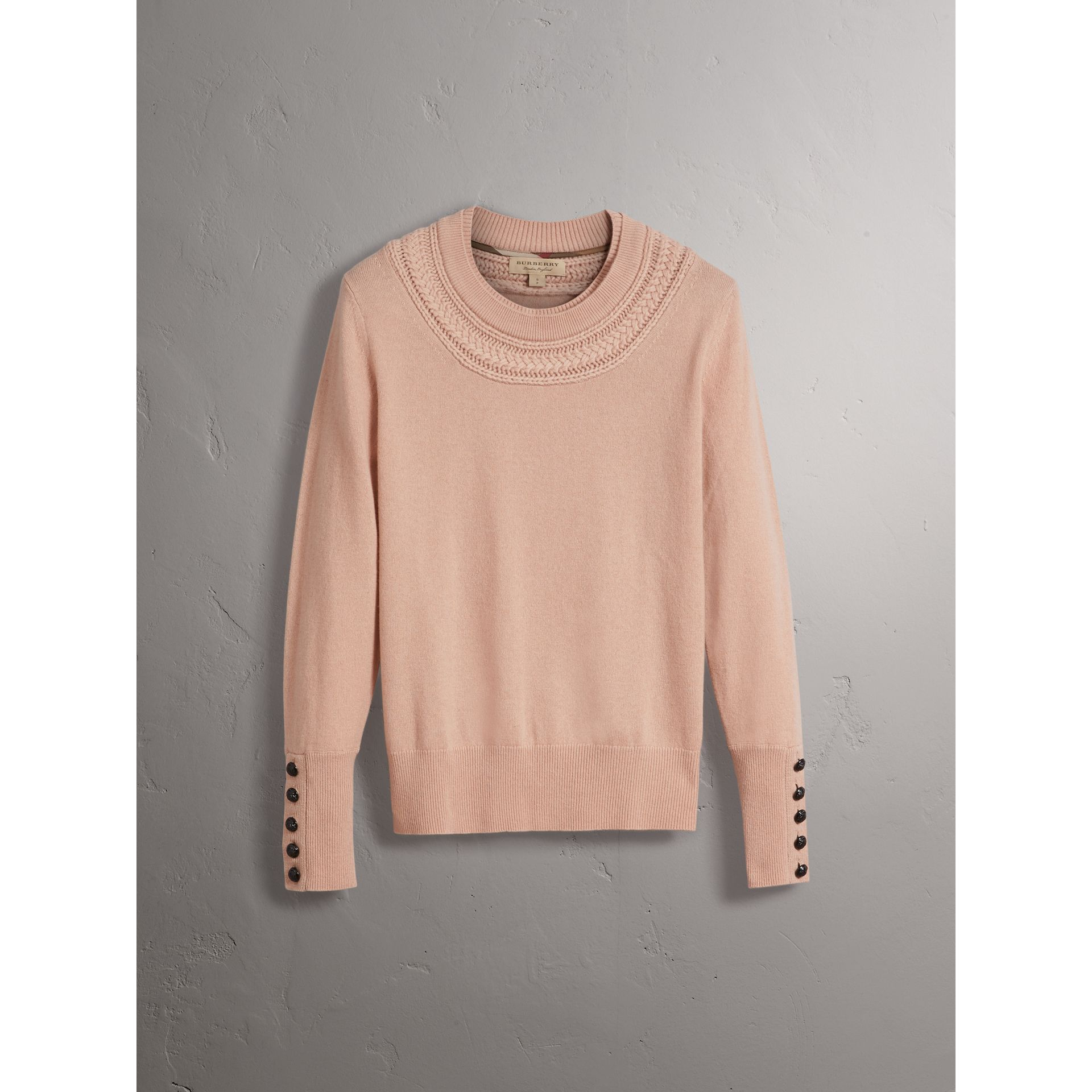 Cable Knit Yoke Cashmere Sweater in Apricot Pink - Women | Burberry - gallery image 4