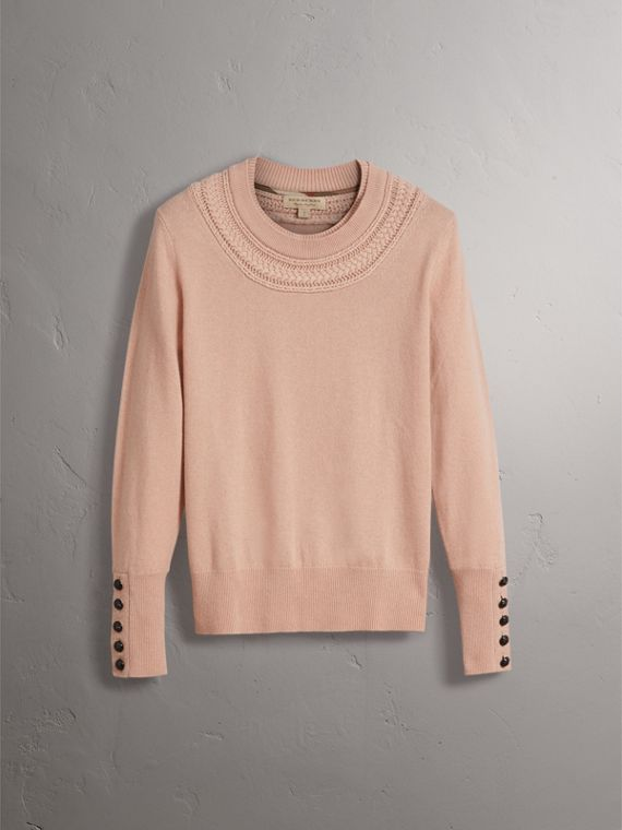 Cable Knit Yoke Cashmere Sweater in Apricot Pink - Women | Burberry - cell image 3