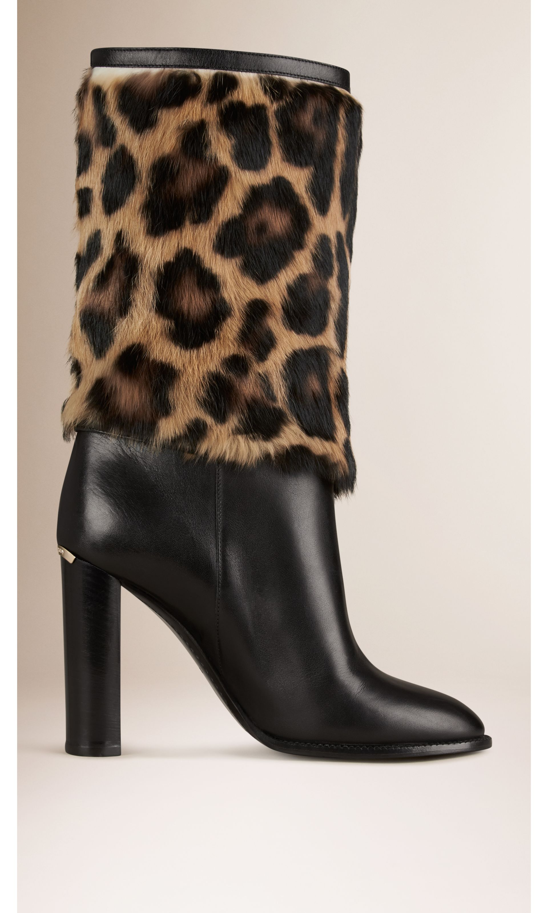 Animal Print Rabbit Fur and Leather Boots in Black - Women | Burberry United States - gallery image 2