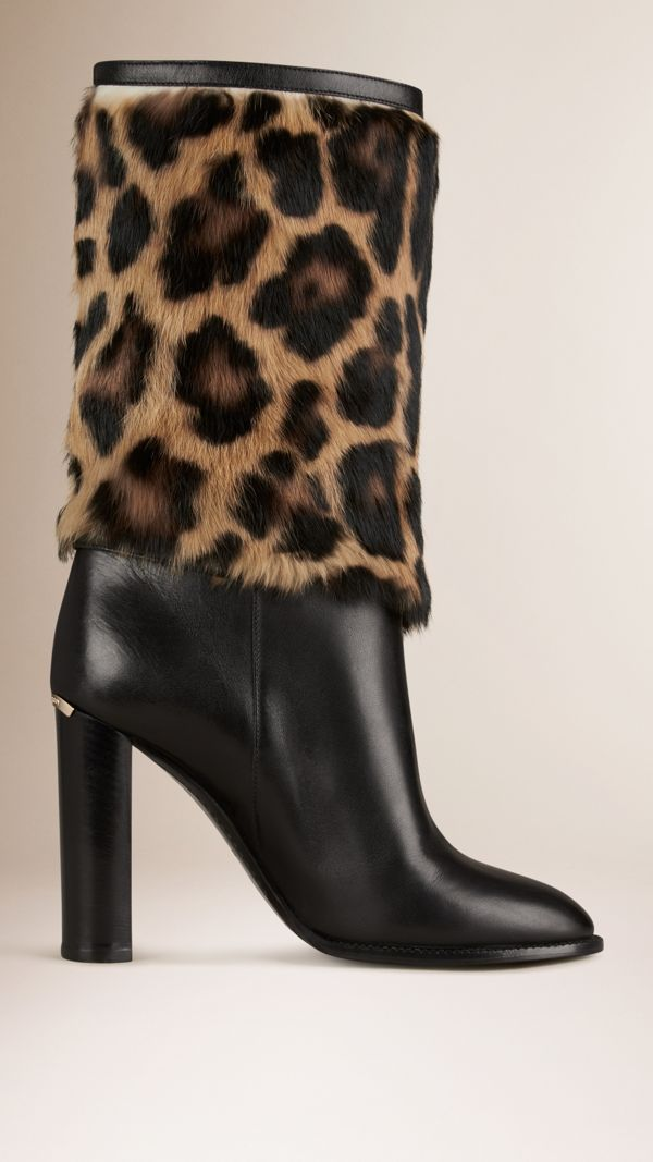 Animal Print Rabbit Fur and Leather Boots in Black - Women | Burberry United States - cell image 2