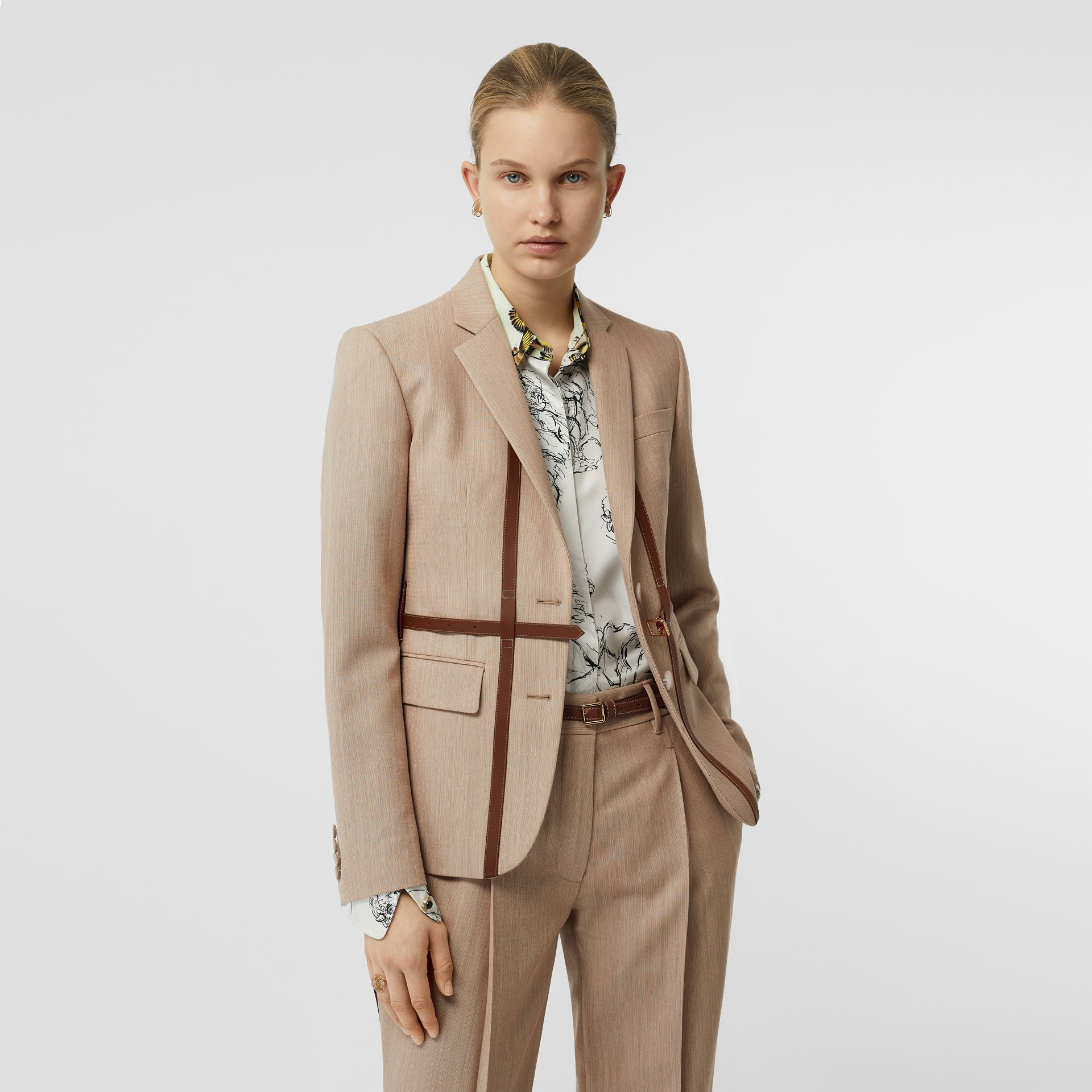 Leather Harness Detail Wool Tailored Jacket in Camel Melange - Women | Burberry - gallery image 4