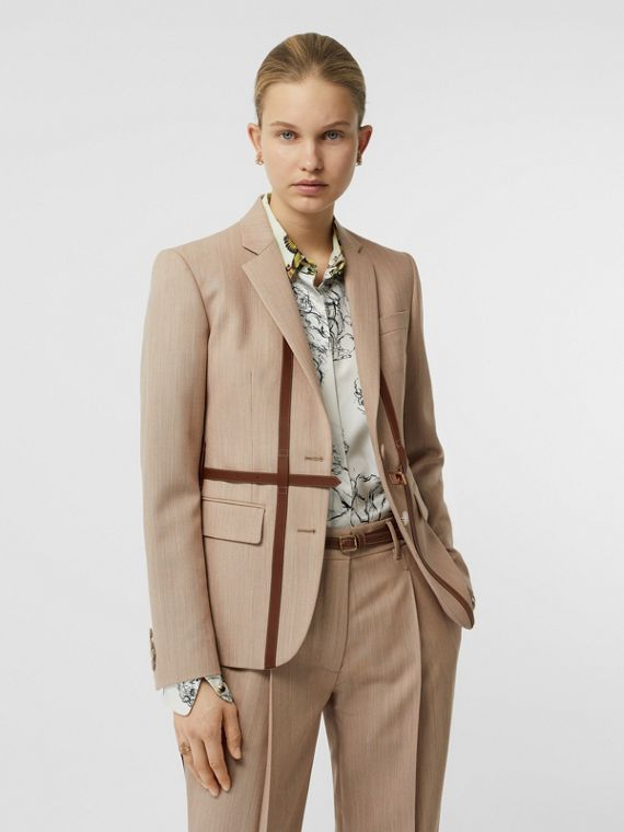 Leather Harness Detail Wool Tailored Jacket in Camel Melange