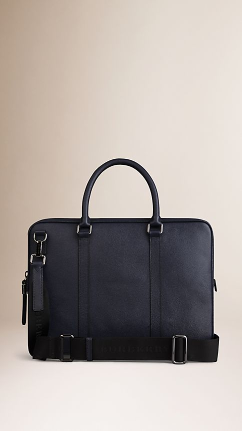 Navy London Leather Crossbody Briefcase Navy - Image 3