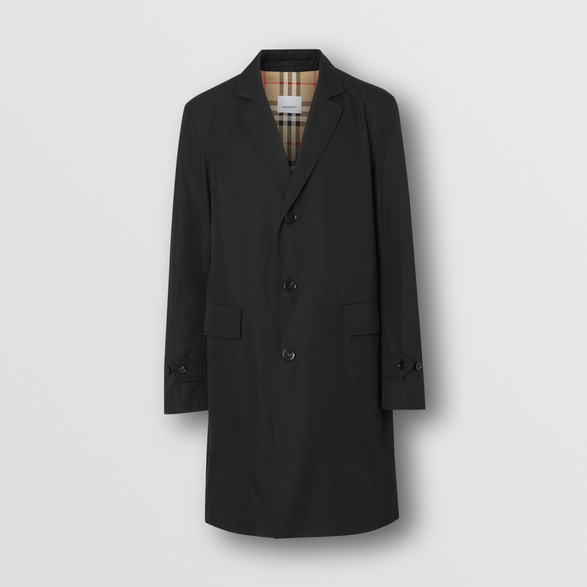Cotton Gabardine Car Coat in Black - Men | Burberry - gallery image 3