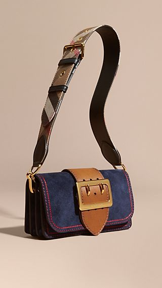 The Buckle Bag in Suede with Topstitching Ink / Tan
