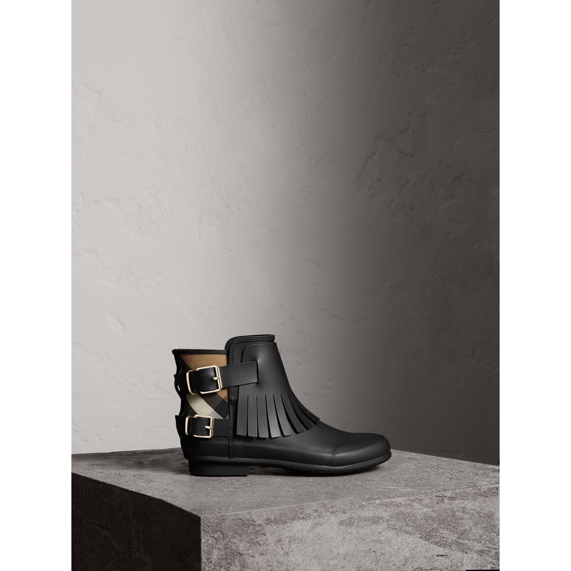 House Check and Fringed Rubber Rain Boots in Black - Women | Burberry Singapore - gallery image 1