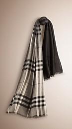 Ombré Check Lightweight Wool Silk Scarf
