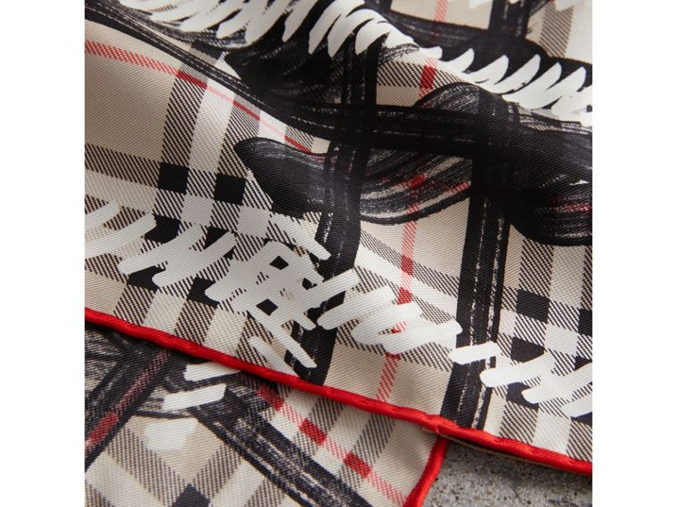 Scribble Check Silk Square Scarf in Stone - Women | Burberry - cell image 1