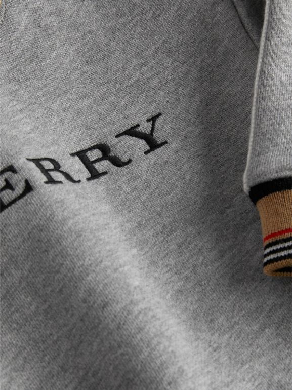 Embroidered Logo Cotton Sweatshirt in Grey Melange - Children | Burberry United Kingdom - cell image 1