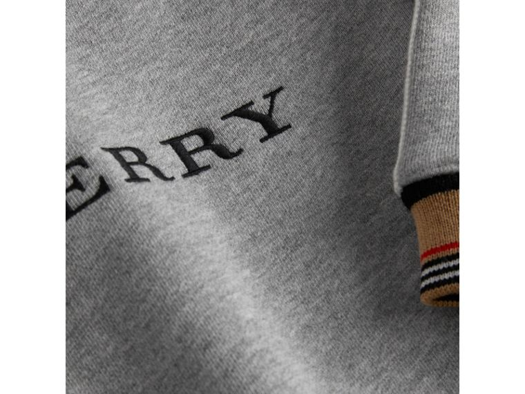 Embroidered Logo Cotton Sweatshirt in Grey Melange | Burberry - cell image 1