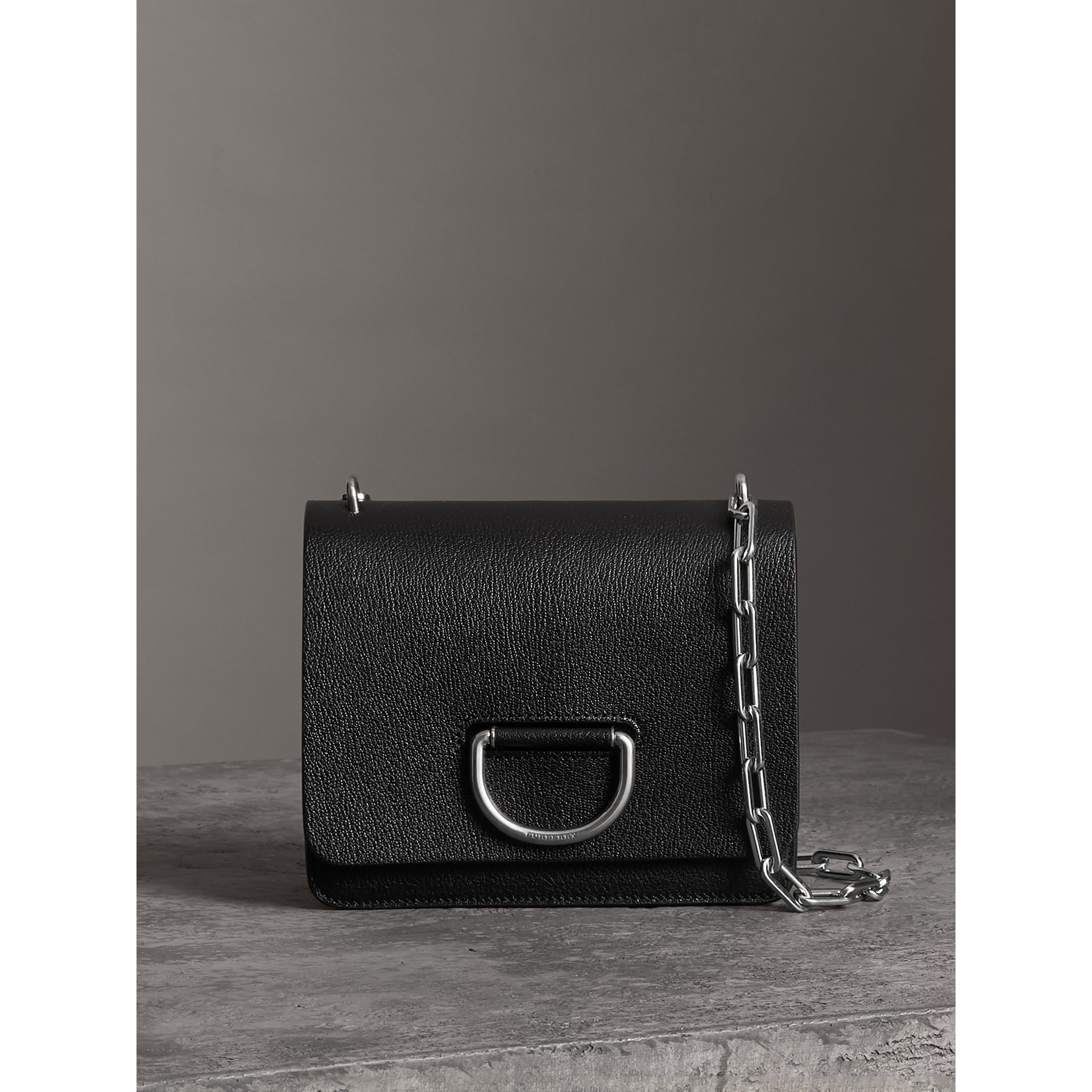 The Small Leather D-ring Bag in Black - Women | Burberry Australia - gallery image 0