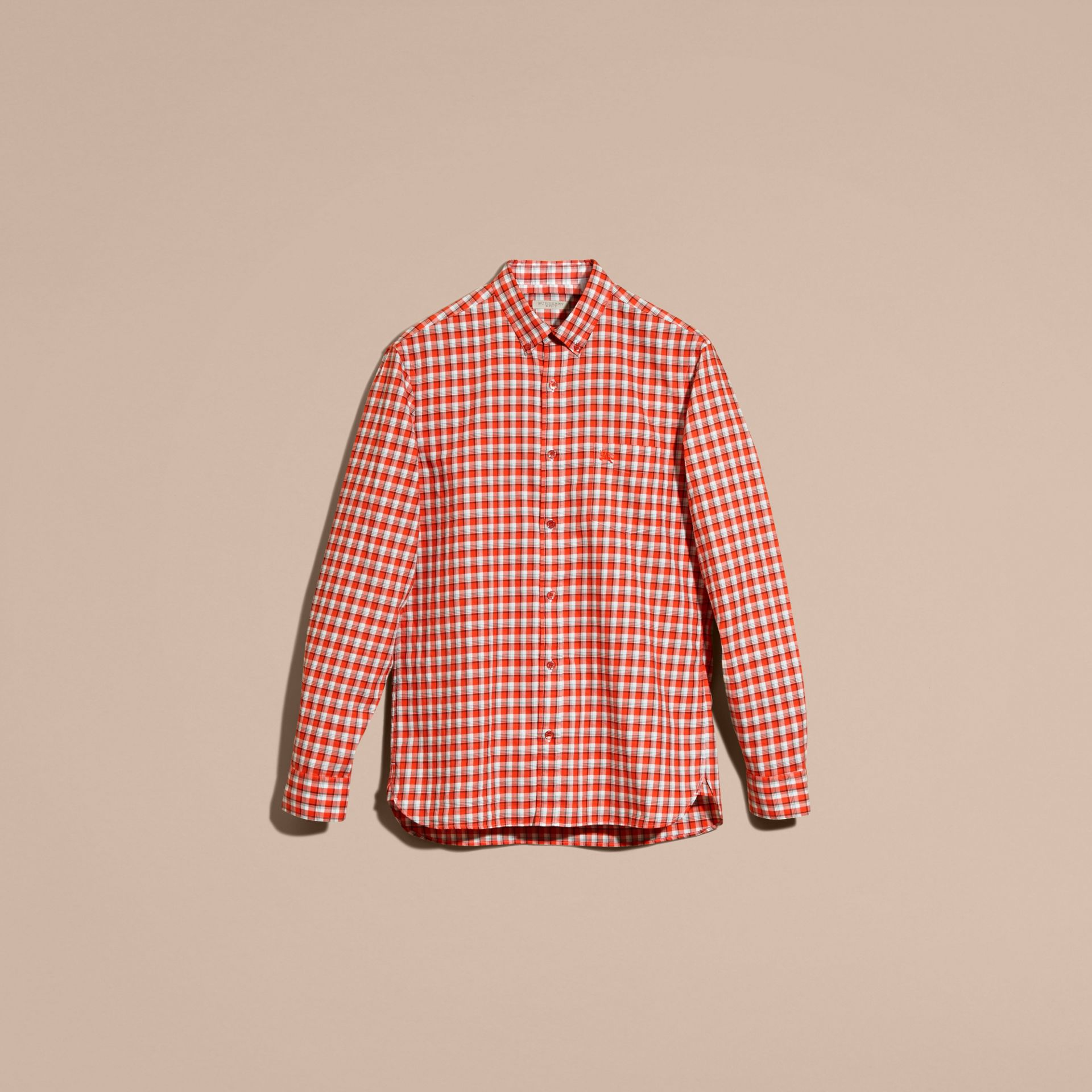 Parade red Gingham Check Cotton Twill Shirt Parade Red - gallery image 4