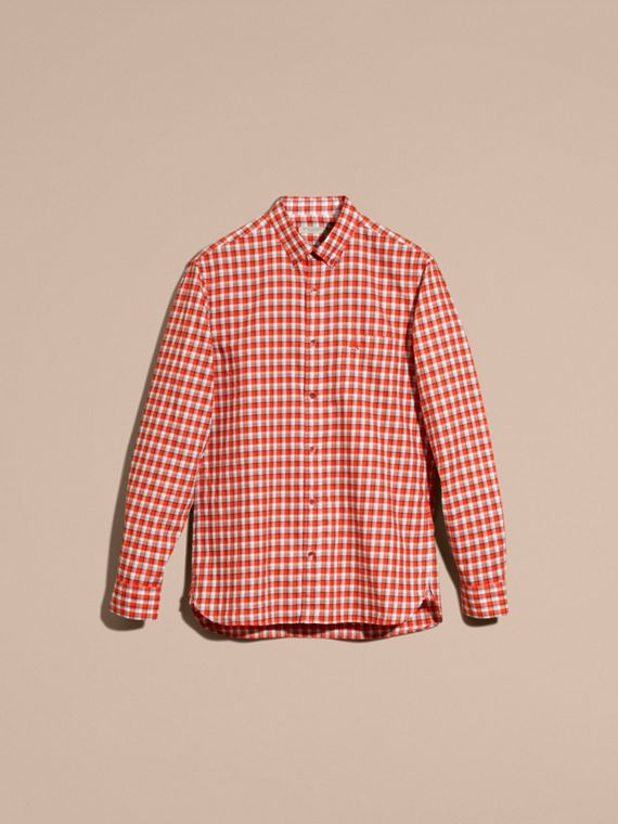Parade red Gingham Check Cotton Twill Shirt Parade Red - cell image 3