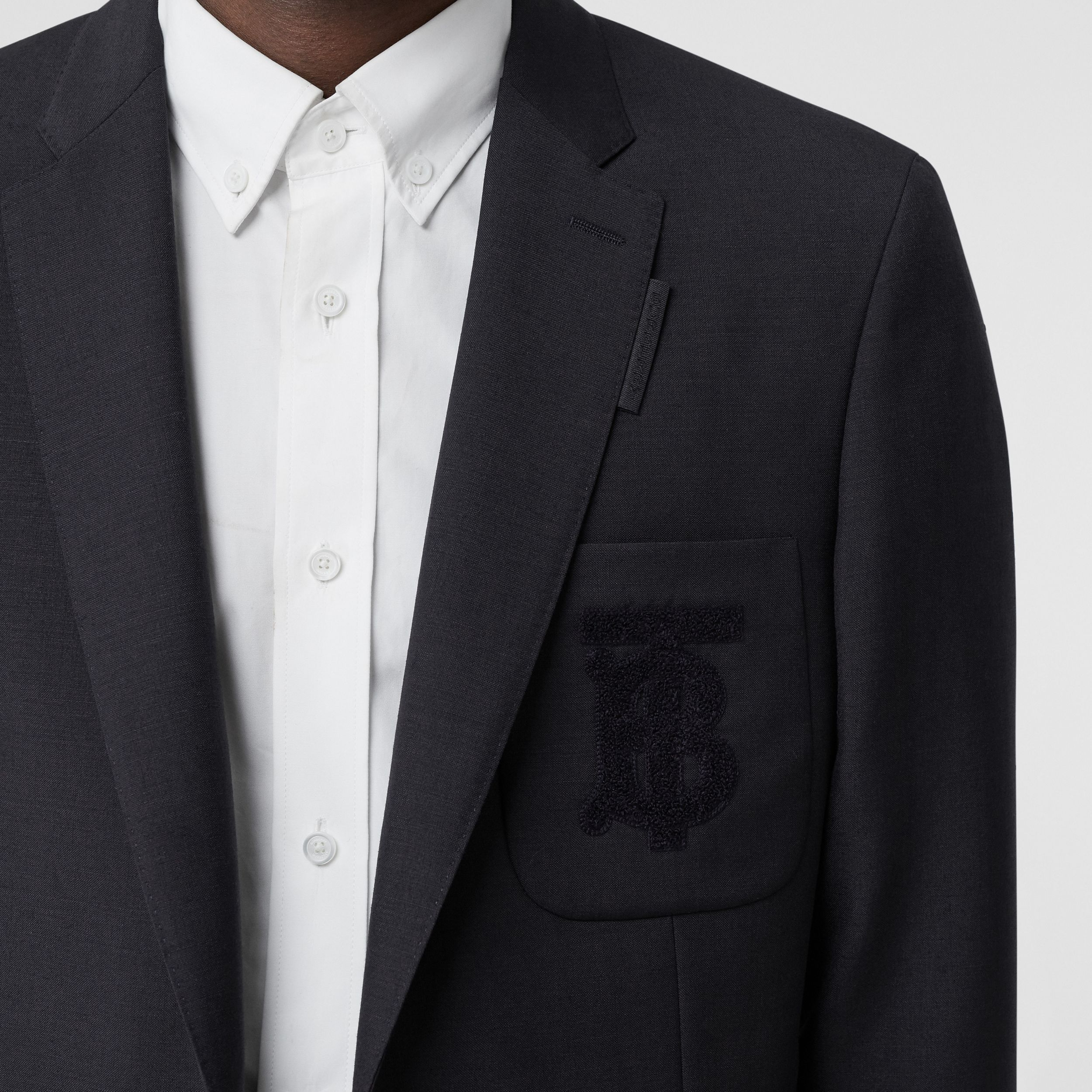 Slim Fit Monogram Motif Wool Mohair Tailored Jacket in Navy - Men | Burberry - 2