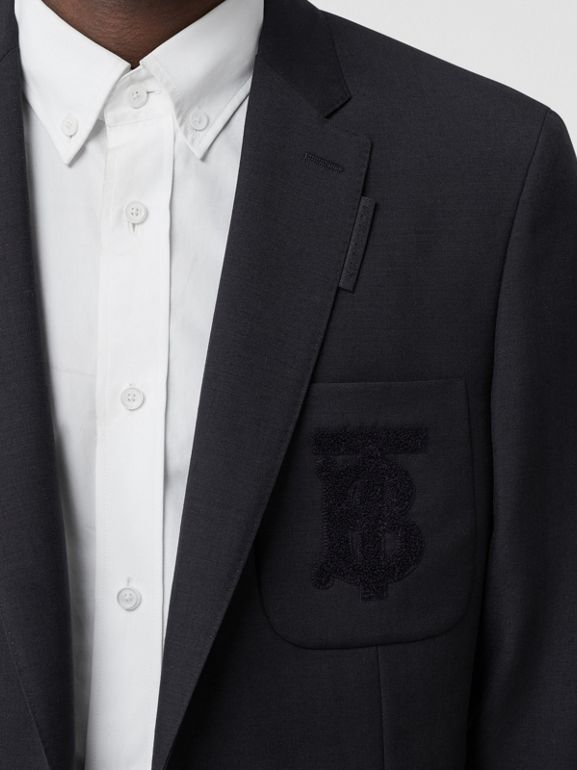 Slim Fit Monogram Motif Wool Mohair Tailored Jacket in Navy - Men | Burberry - cell image 1