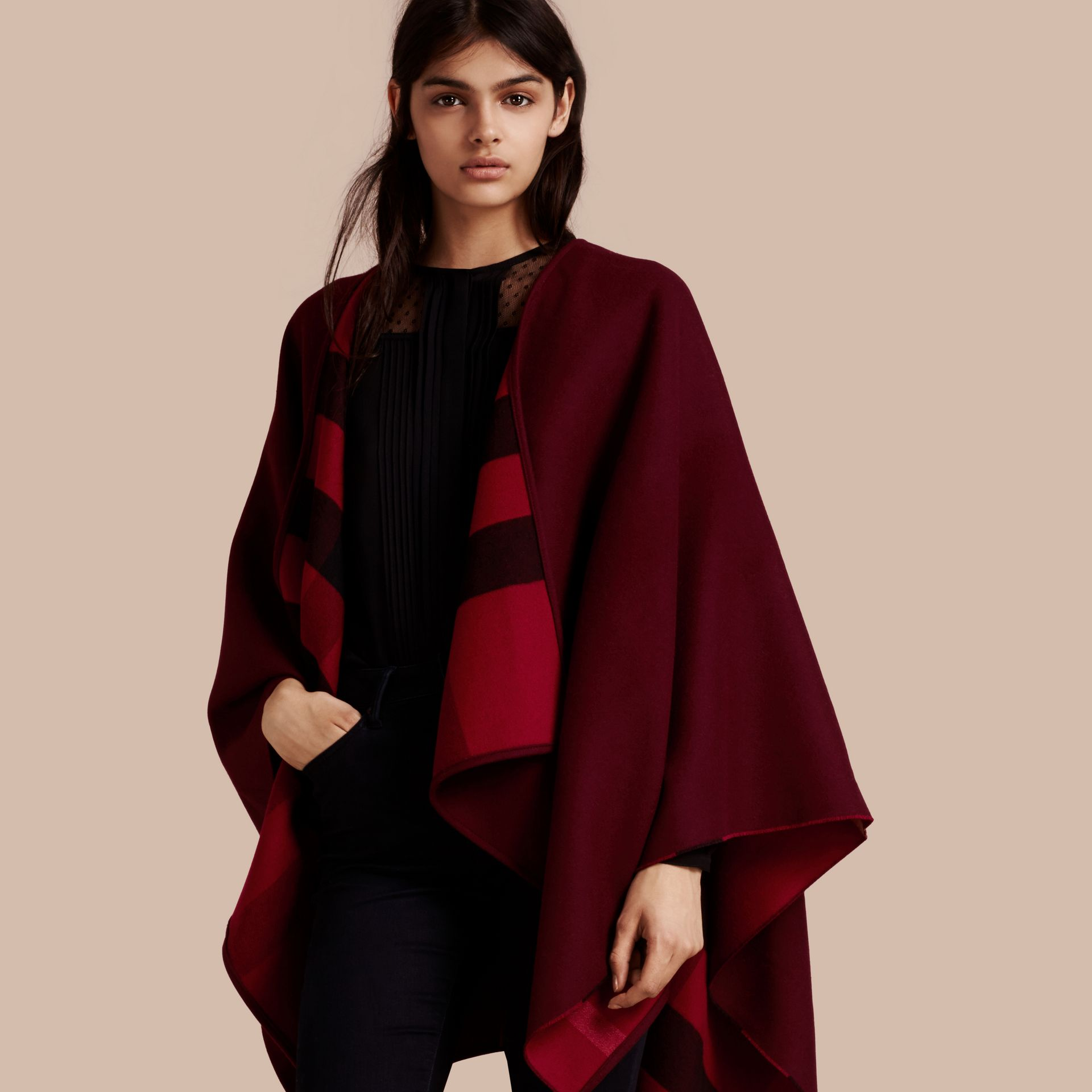 Reversible Check Merino Wool Poncho Parade Red - gallery image 1