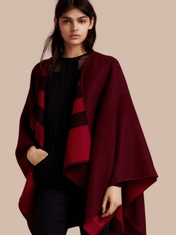 Reversible Check Merino Wool Poncho Parade Red
